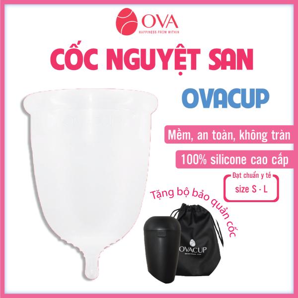 Cốc nguyệt san nhập khẩu chính hãng Ovacup Made In USA 100% Silicone y tế mềm chống tràn đạt tiêu chuẩn FDA Hoa Kỳ (màu trắng) giá rẻ