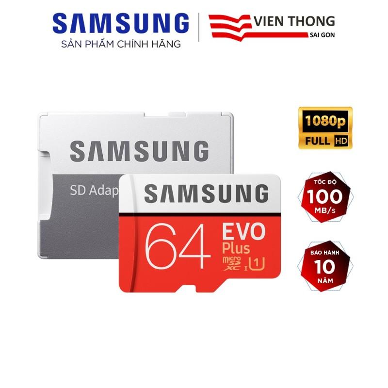 Thẻ nhớ microSDXC Samsung Evo Plus 64GB upto 100MB/s C10 U1 kèm Adapter (Bảo hành 10 năm) - Hãng phân phối chính thức