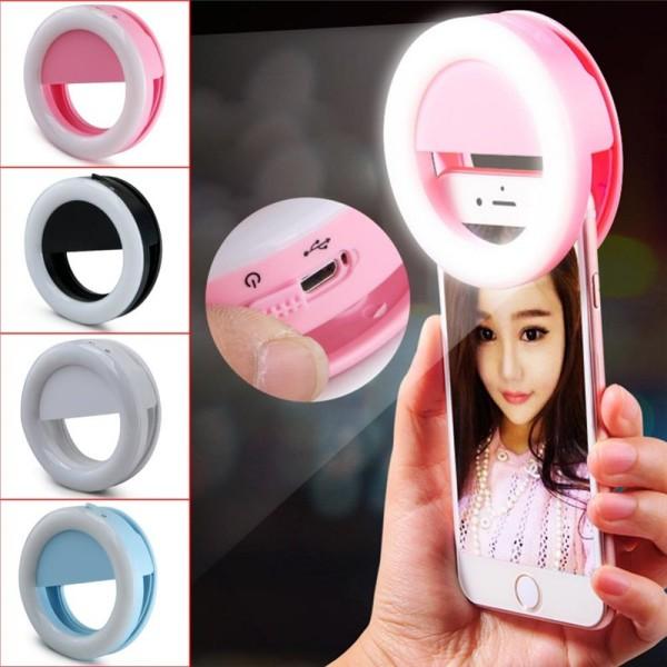 Đèn LED selfie trợ sáng pro chụp hình tự sướng dùng pin - Đèn chụp ảnh tự sướng livestream điện thoại