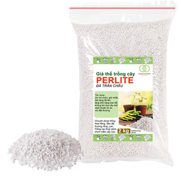 Đá Perlite, đá trân châu 2kg trồng hồng, sen đá, thuỷ canh