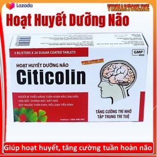 Hoạt Huyết Dưỡng Bão Citicolin Giảm Đau Đầu, Hoa Mắt, Chóng Mặt -Giúp Tăng Cường Tuần Hoàn Máu Não- Hộp 100 viên thumbnail