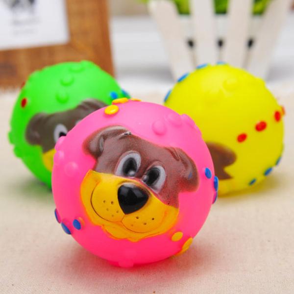 Đồ chơi bóng chút chít hình mặt chó - phụ kiện thú cưng