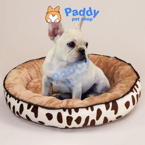 Nệm Tròn Vải Lông Êm Ái Cho Chó Mèo