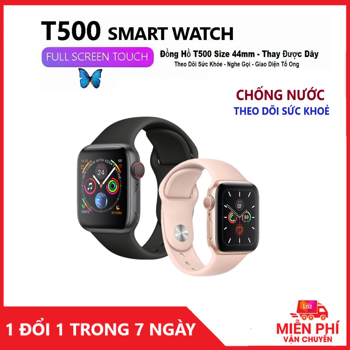 Đồng Hồ Thông Minh Apples Smart Watch Series 5 T500 Cao Cấp, Chống Nước -Thay Hình Nền Theo Ý Muốn - Gọi Điện Nghe Nhạc Trực Tiếp - Thông Báo Tin Nhắn - Giao diện 100% Tiếng Việt