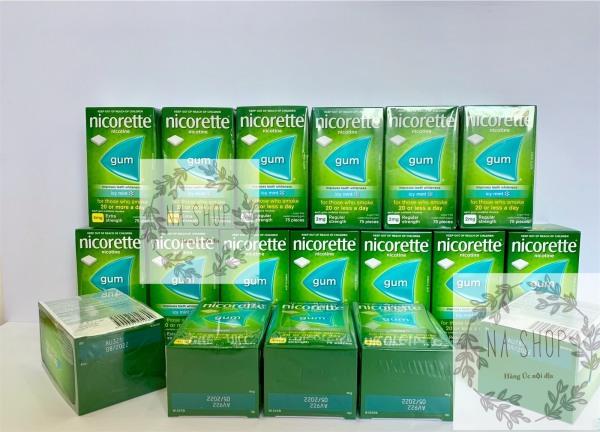Kẹo gum cai T.H.U.Ố.C lá Nicorette Hàng Úc 2mg Vị Bạc Hà 75 viên - Nicorette Quit Smoking Regular Strength Icy Mint Flavour Chewing Gum 2mg 75 Pieces