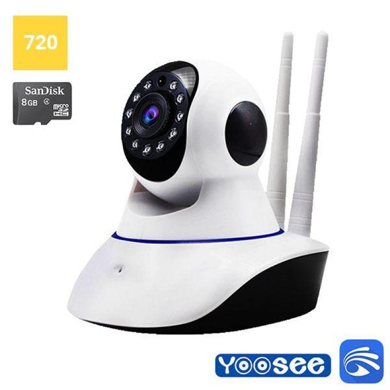 Camera IP wifi Yoosee 2 râu HD-1080x720P đàm thoại 2 chiều xoay 360 độ quay đêm + nguồn chân đế BH12T