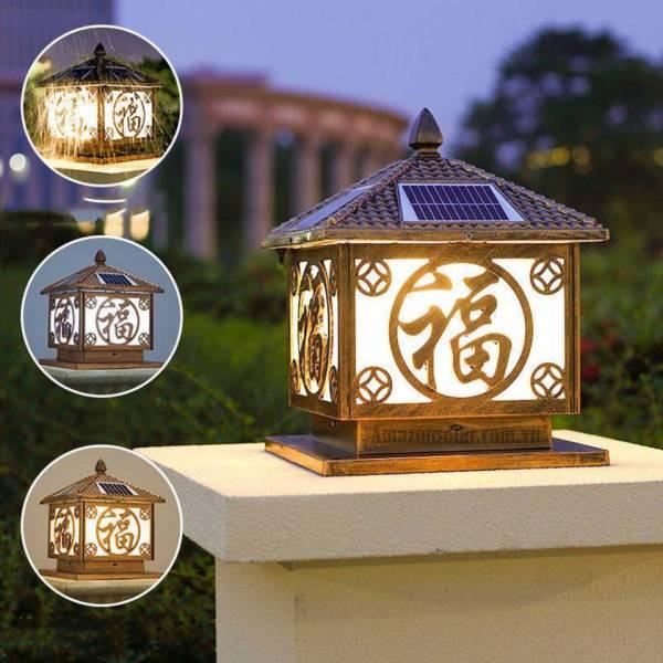 Đèn trụ cổng năng lượng mặt trời chữ Phúc trụ 30cm