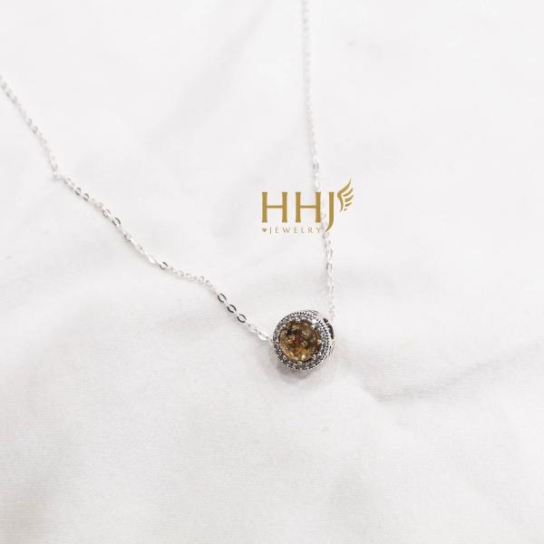 Dây chuyền charm đá vàng - HHJ - Bạc S95