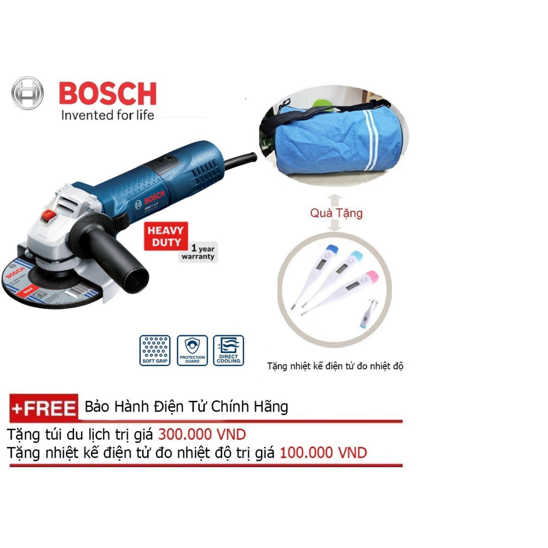 Máy mài góc Bosch GWS 7-125 + Quà tặng alo du lịch