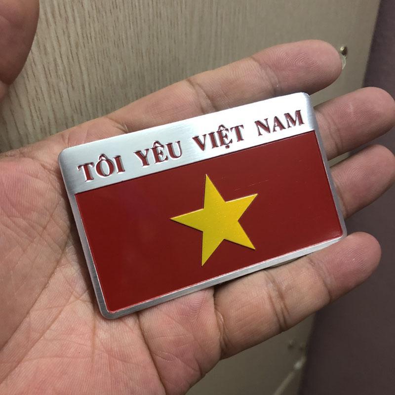 Bộ 2 tem nhôm cờ Tôi yêu Việt Nam ( Lihadu)