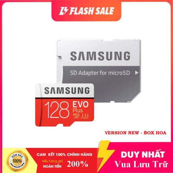 [Flash Sales]  Thẻ nhớ MicroSDXC Samsung Evo Plus 128GB U3 4K R100MB/s W60MB/s - box Hoa New 2020 (Đỏ) + Kèm Adapter