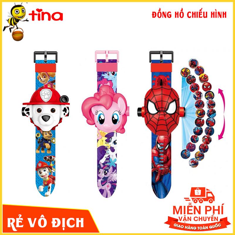 Nơi bán Đồng hồ cho bé hình người nhện elsa, batman, đội cứu hộ, ninja chiếu hình ảnh lên tường người nhện E128