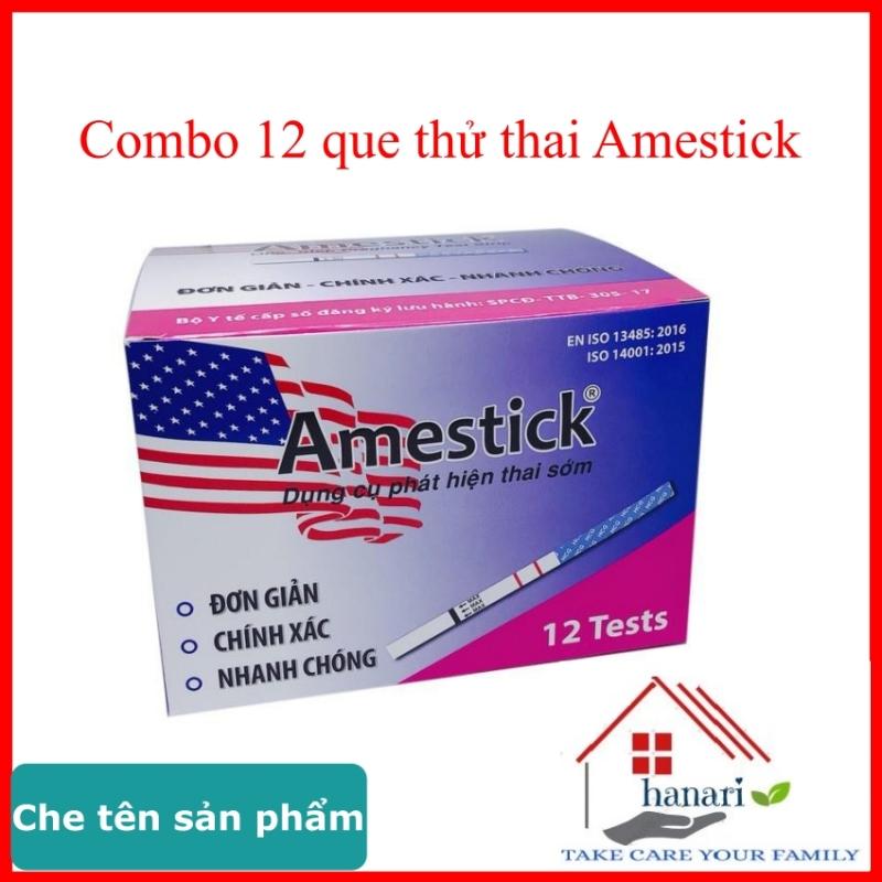 Que thử thai amestick hộp 12 que chính hãng tanaphar, hỗ trợ sinh con theo ý muốn hoặc dùng tránh thai