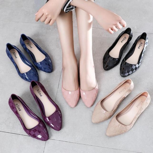 Giày nữ nhựa dẻo đi mưa phối caro sang chảnh có 2 màu giá rẻ