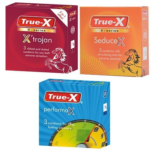 Bộ 3 hộp bao cao su True-X PerformaX, True-X SeduceX, True-X XTrojan [9 chiếc]