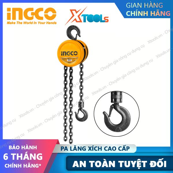 Palang xích treo cao cấp INGCO 1-2 tấn x 3m ròng rọc xích kéo vận chuyển nâng di vật nặng hàng hoá cồng kềnh [XTOOLs][XSAFE]