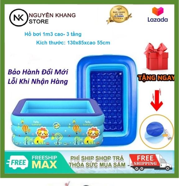 Hồ bơi nhựa, bể bơi phao 1m3- `130x85xcao 55cm 3 tầng đế công nghệ chống trượt chân an toàn cho bé khi tắm