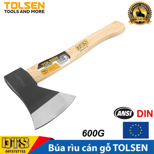 Búa Rìu đa năng cán gỗ TOLSEN cứu hộ, làm vườn, chặt cây, bổ củi 600G - Tiêu chuẩn xuất khẩu Châu Âu