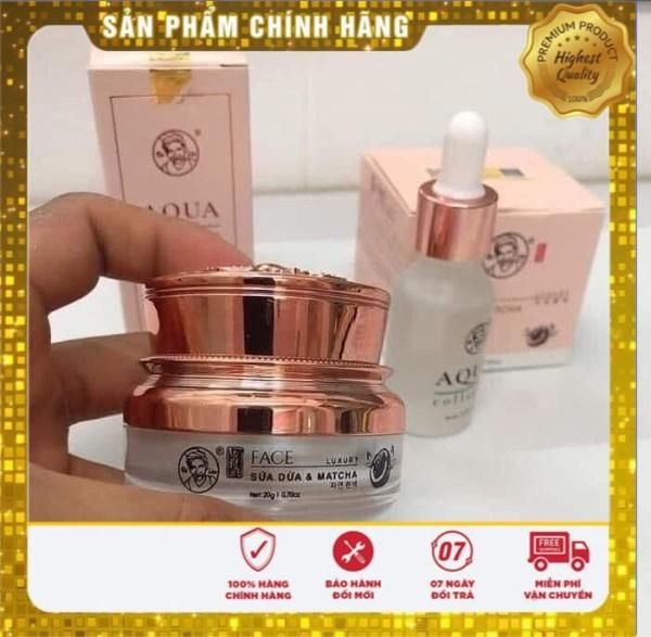 ( Chính Hãng 100% ) Combo Face Luxury 20gr Bà Lão và nước Thần aqua 15ml - Kem Dưỡng da ngừa mụn trắng hồng