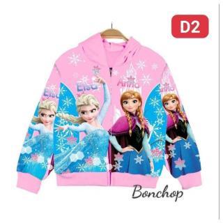 Áo khoác bé gái hình Elsa và Anna từ 9-40kg - áo khoác nữ 100% cotton thun da cá hút mồ hôi- Hình in 3D sắc sảo-Hương Nhiên thumbnail