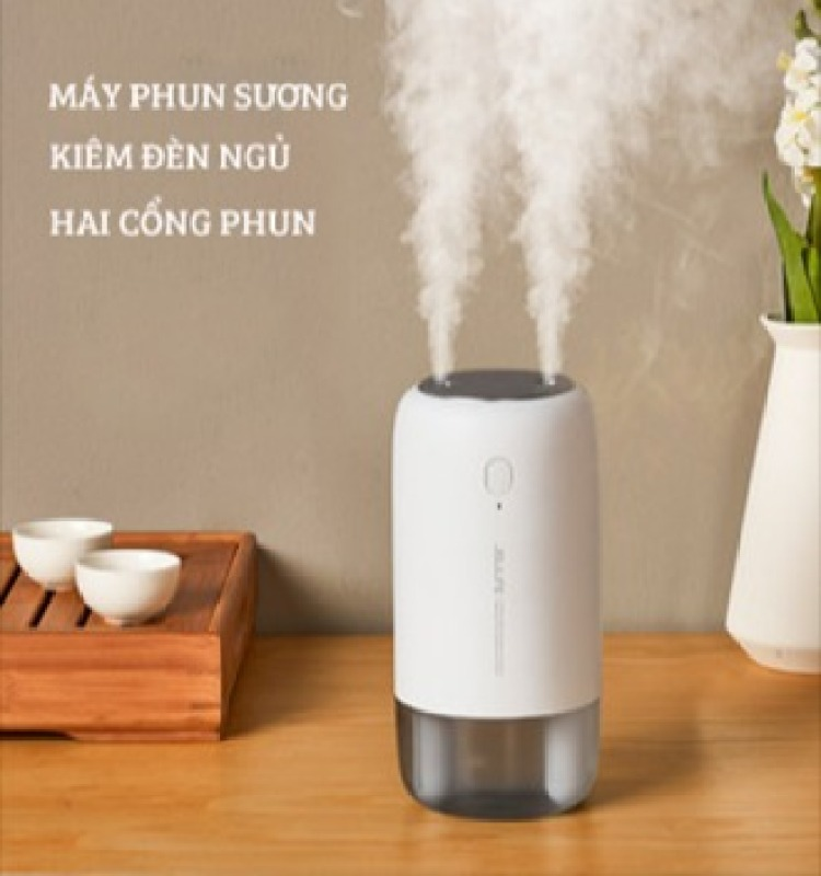 Máy phun sương mini hai cổng tích điện kiêm đèn ngủ để bàn, máy tạo ẩm không khí trong phòng Jisulife JB08 - Dung tích 500ml - 3600mAh - Bảo hành 12 tháng