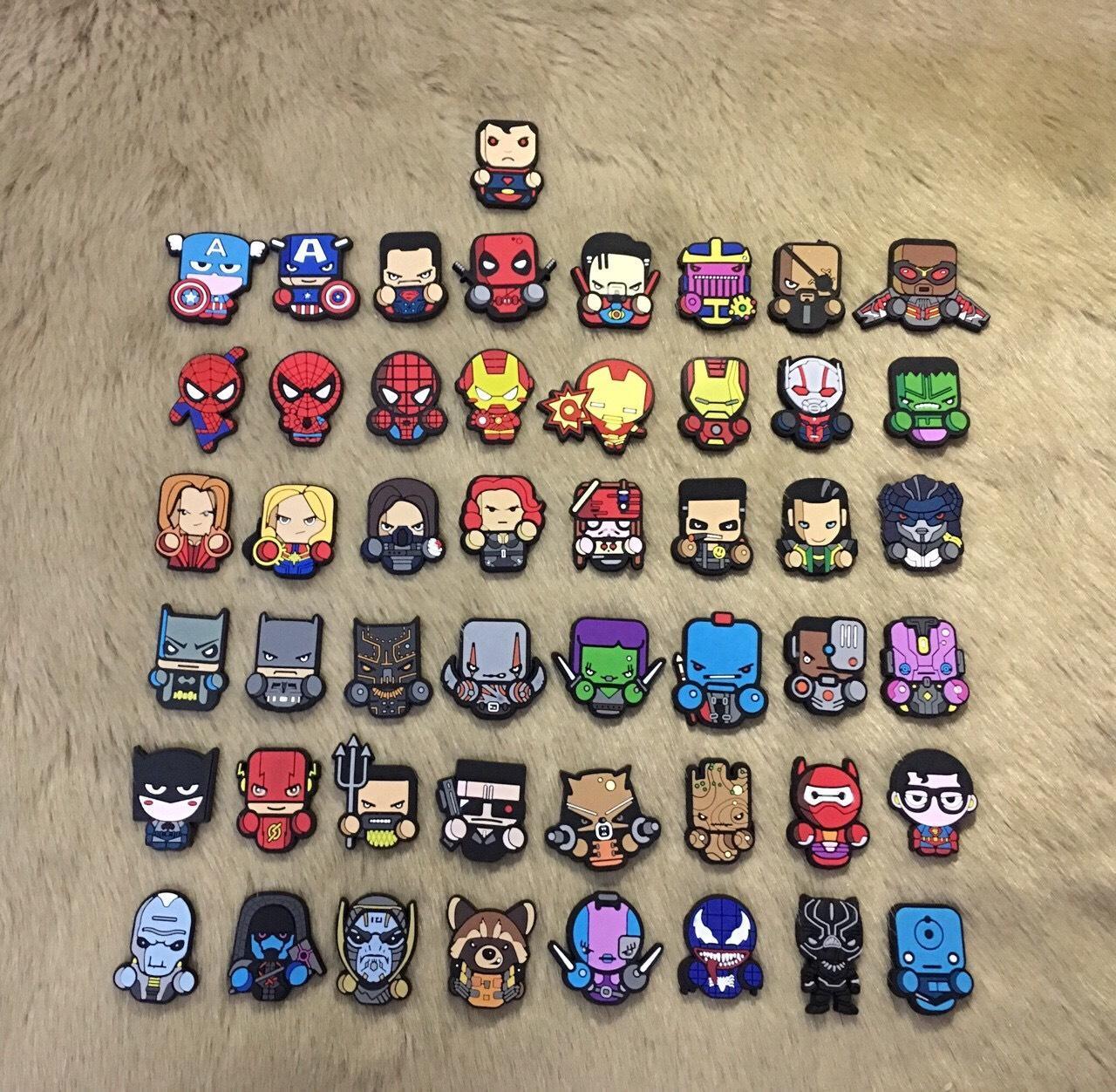Bộ 10 Sticker 2D siêu anh hùng, AVENGER, MARVEL sticker  khác nhau gắn dép CROCS - DÉP CÁ SẤU
