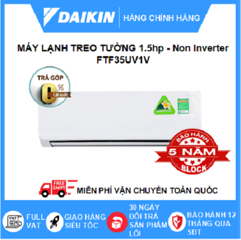 Máy Lạnh Treo Tường FTF35UV1V (1.5hp) - Daikin 12000btu Non Inverter R32 - Điều hòa chính hãng - Điện Máy Sapho