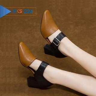 Giày boot bốt nữ đẹp hàng hiệu Rosata-6cm cổ thấp phá cách RO224