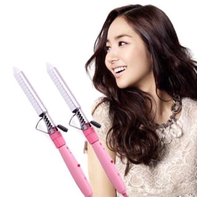 Máy uốn tóc mini cầm tay xoăn trục sứ, máy làm xoăn tóc dễ dàng - GDQUY67 nhập khẩu