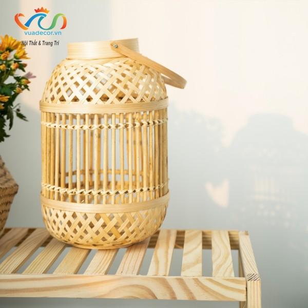 Đèn lồng tre để bàn VUADECOR treo trang trí màu vàng nâu decor trang trí nhà cửa