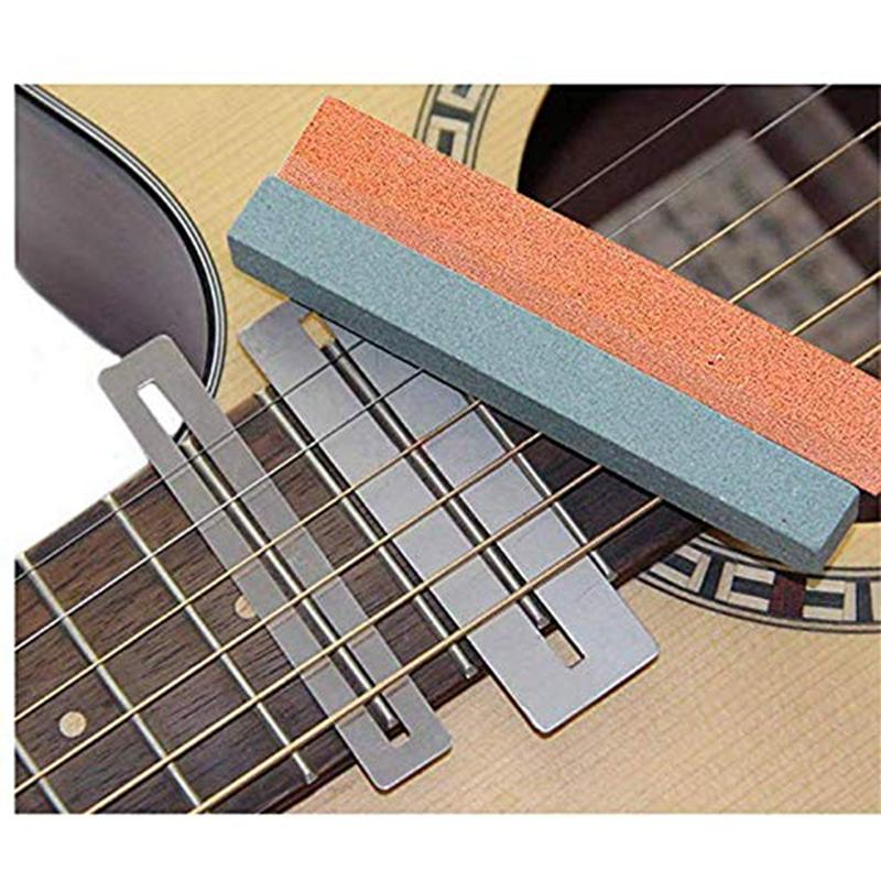 Guitar Luthier Tool Included Guitar Fret Leveler Beam Sanding Leveling Bar Bass Fretboard Guard Protector and Granding Stones for Electric Folk Guitar Bass
