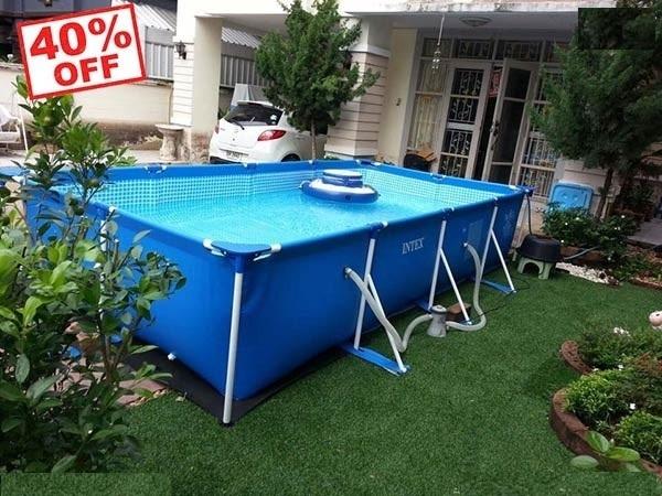 Bể bơi khung kim loại chữ nhật INTEX 28272 -300cmX200cmX75cm  Hồ bơi cho gia đính an toàn , tiện lợi , siêu khuyến mãi quà tặng trị giá 250k : 2 PHAO BƠI , 2 BỘ BỊT TAI