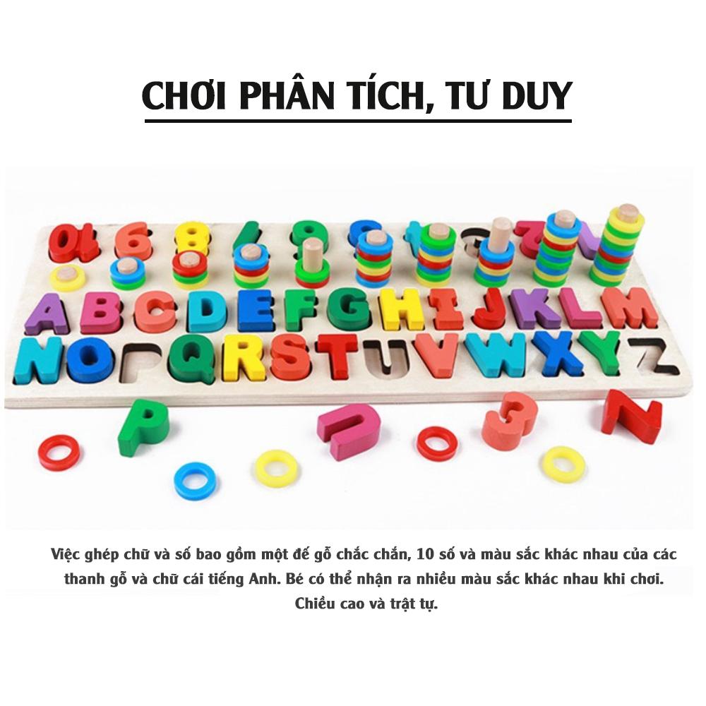Bảng chữ cái và số cho bé kèm hình khối cột tính bậc thang, đồ chơi học tập, bảng ghép hình bằng gỗ thuộc giáo cụ Montessori giúp phát triển trí tuệ và kỹ năng cho trẻ.