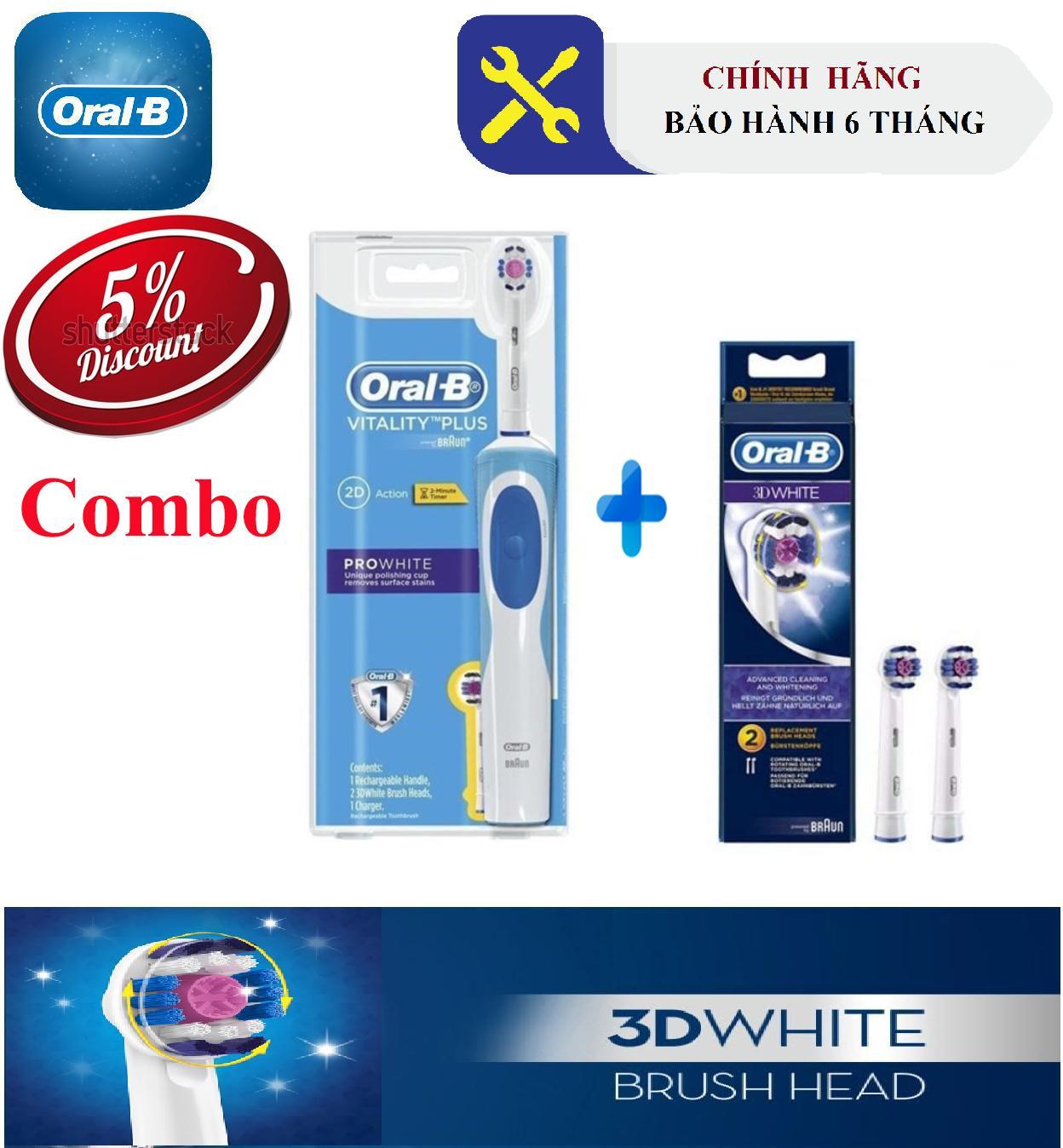 Combo Bàn chải đánh răng Oral-B Pro White (Bảo hành 6 tháng) + Bộ 2 đầu Oral-B 3D White