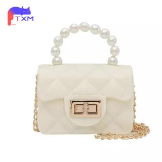 Summer Mini Kids Bag & New Pearl Handbag - Waterproof Girls Jelly Bag Coin Purse, Phone Bag Chain Square Shoulder Bag thumbnail