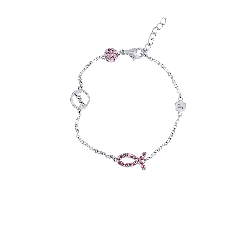 Lắc tay Pink Love Fish Jadmire bạc Ý 925 cao cấp mạ Platinum đính đá Swarovski® hồng