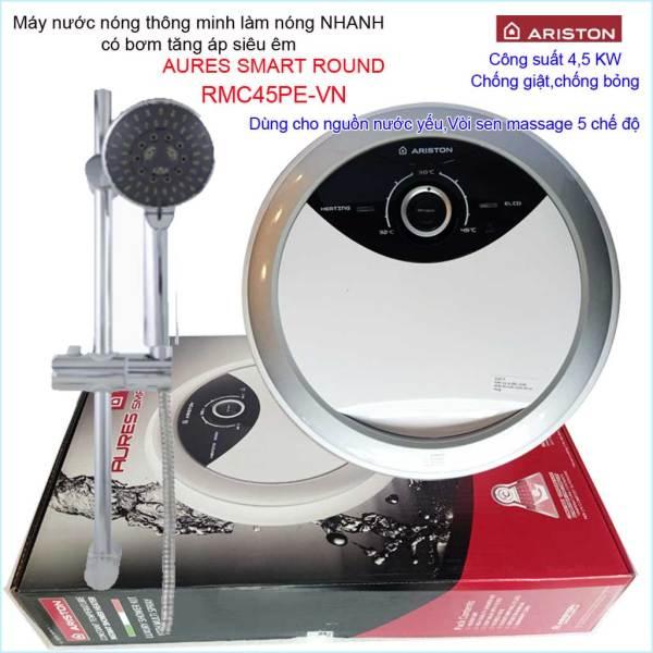 Bảng giá Máy nước nóng Ariston RMC45PE-VN, máy nước nóng trực tiếp có bơm thông minh Aures Smart Round  (có bơm) 3195095