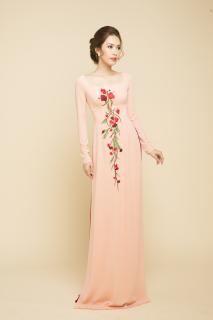 Áo dài truyền thống Mai Lan cổ vuống thêu hoa đính ngọc trai cao cấp - KHÔNG KÈM QUẦN thumbnail