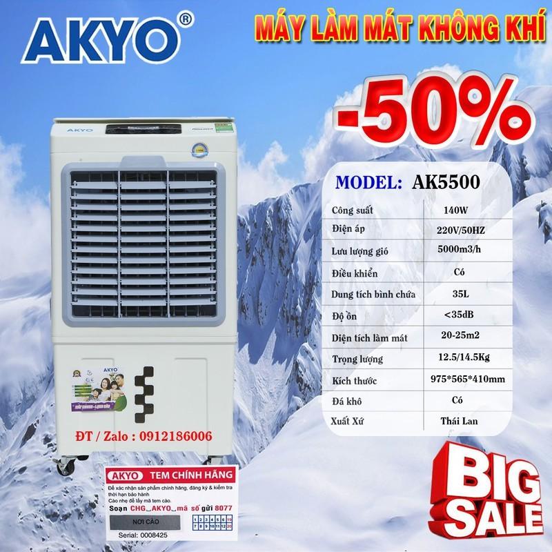 QUẠT ĐIỀU HÒA KHÔNG KHÍ AKYO INVERTER AK5500 Model 2020 - Hàng chính hãng nhập khẩu Thái Lan giảm giá đặc biệt