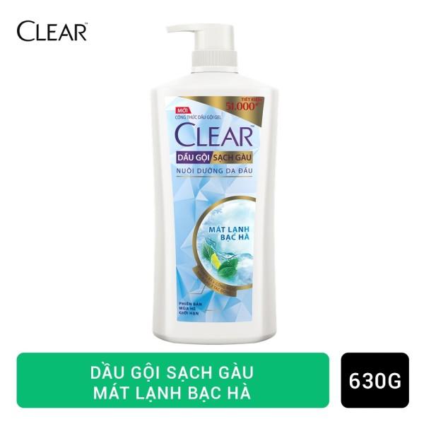Clear Mát Lạnh Bạc Hà Dầu Gội Sạch Gàu đánh bay gàu tức thì sạch gàu vượt trội cấp ẩm cho da đầu 630g