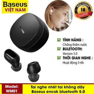Tai nghe nhét tai không dây Baseus Encok True Wireless Earphones WM01 bluetooth 5.0, chống thấm nước, dùng cho điện thoại IOS Android thumbnail