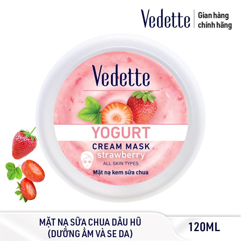 Mặt nạ kem sữa chua dưỡng ẩm mịn màng Dâu Vedette Yogurt Cream Mask - Strawberry 120ml (dạng hũ)