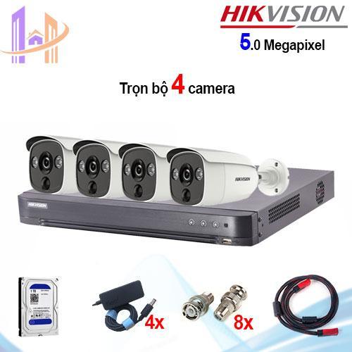 Trọn bộ 4 camera Hikvision DS-2CE12H0T-PIRL (5MP) + đầu ghi 4 kênh DS-7204HUHI-K1 - Công Nghệ Hoàng Nguyễn
