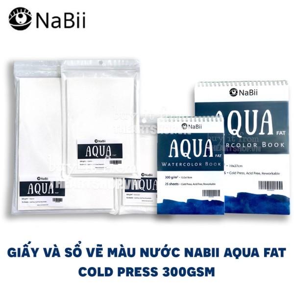 Giấy vẽ và sổ vẽ màu nước NABII AQUA FAT (COLD PRESS 300gsm)