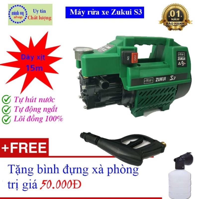 [DÂY XỊT 15m] Máy xịt rửa xe mini gia đình Zukui S3 - tự hút - tự ngắt - Công suất mạnh 2000W dễ dàng sử dụng - Bảo hành 12 tháng