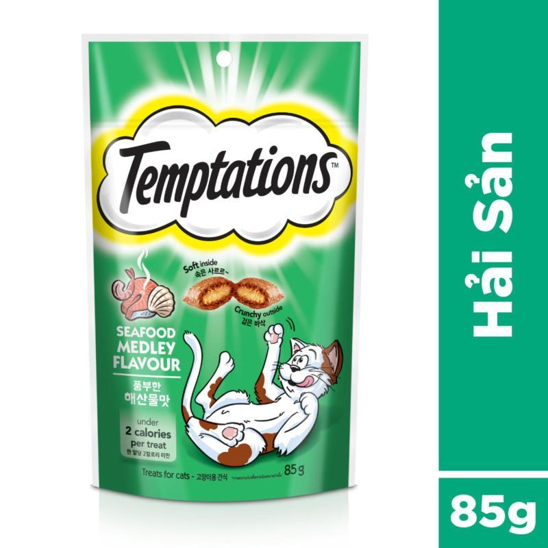 Thức ăn vặt cho mèo Temptations vị hải sản 85g
