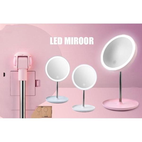 Gương trang điểm có đèn led 3 màu, nút nguồn cảm biến trên mặt kính mẫu mới 2019 siêu đẹp