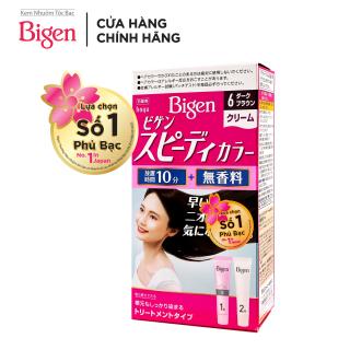 Thuốc nhuộm tóc phủ bạc dạng kem Bigen Speedy Color Cream 80ml - Màu 6 - Nâu Đen thumbnail