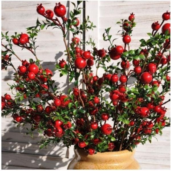 Cành lựu đỏ tài lộc may mắn trang trí nhà cửa, quả giả hoa giả cao cấp