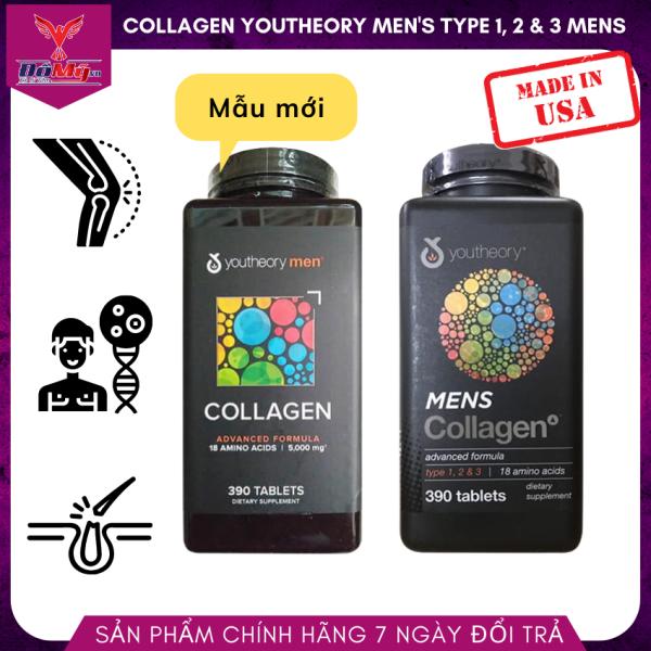 [ Domy ] Viên uống Collagen Youtheory Mens Type 1, 2 & 3 dành cho nam 390 viên của Mỹ - Bổ sung nguồn collagen thiết yếu cho cơ thể, thúc đẩy quá trình phục hồi tế bào mới, tăng liên kết giữa các mô. Collagen men - Đồ Mỹ